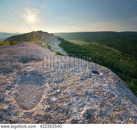 Mountain landscape during the sunrise. Nature composition.