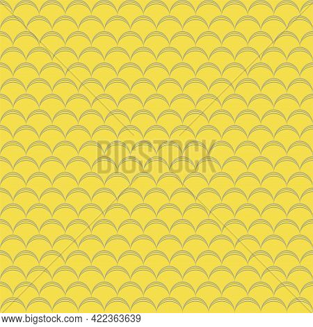 Fish Skin Texture. Yellow Seamless Pattern. Reptile, Dragon Skin Texture. Geometric Background For F