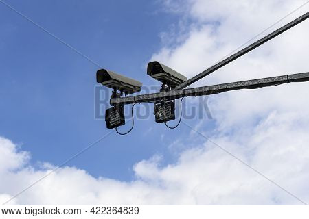 Detail Of Security Cctv Cameras Monitoring The Streets And Roads Creating The Big Brother Surveillan