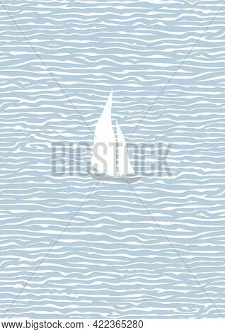 Painting With The Sea And A Sailboat. Blue Endless Sea, White Waves, Sails. Calm And Relaxation. Wal