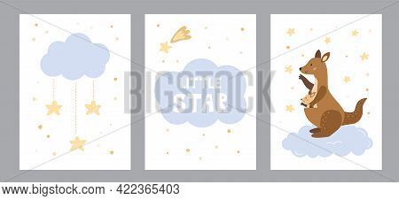 Vector Set Of Greeting Cards And Posters For Nursery. Mother Kangaroo With Her Baby, Clouds And Star