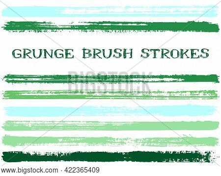 Ink Brush Strokes Isolated Design Elements. Set Of Paint Lines. Messy Stripes, Textured Paintbrush S
