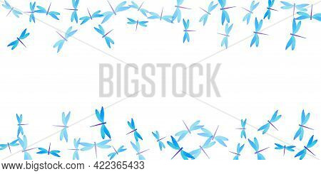 Fairy Cyan Blue Dragonfly Cartoon Vector Background. Spring Beautiful Insects. Decorative Dragonfly