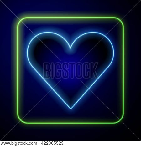 Glowing Neon Heart Icon Isolated On Blue Background. Romantic Symbol Linked, Join, Passion And Weddi