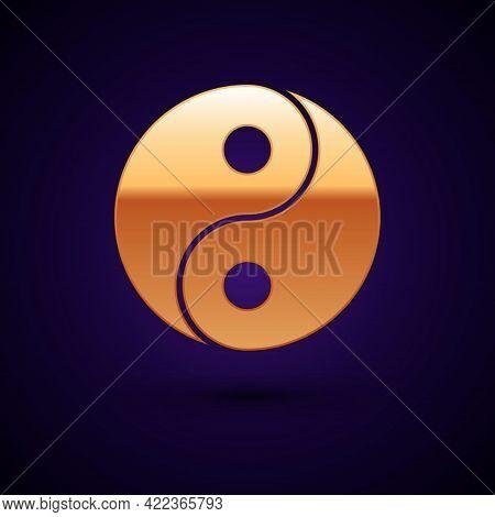 Gold Yin Yang Symbol Of Harmony And Balance Icon Isolated On Black Background. Vector