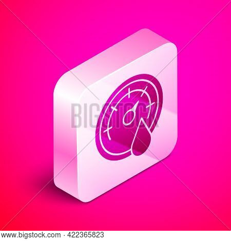 Isometric Sauna Thermometer Icon Isolated On Pink Background. Sauna And Bath Equipment. Silver Squar