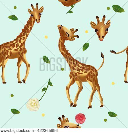 Cute Tropical Giraffe Seamless Pattern. Pattern With Wild Animals, Head Giraffe, Flower, Leaf. 3d Ve