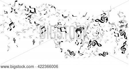 Music Notes Cartoon Vector Wallpaper. Sound Composition Signs Swirling.