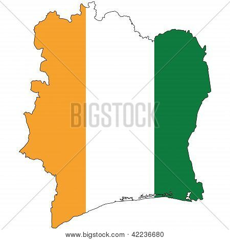 Country outline with the flag of Cote D'Ivoire