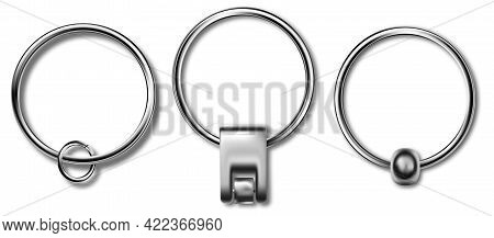 Keychains Set Keyring Holders Isolated On White Background. Silver Colored Accessories Or Souvenir P