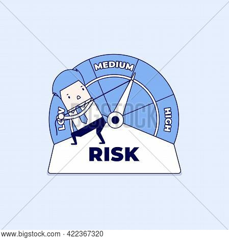 Businessman Manages Risk In Business Or Life. Risk On The Speedometer Is High, Medium, Low. Cartoon