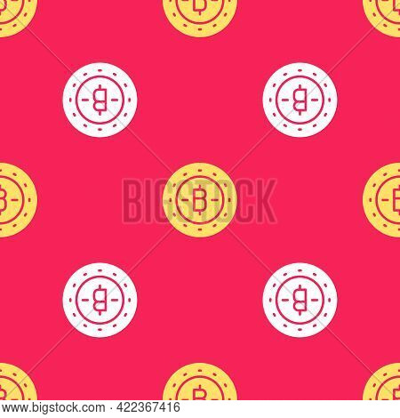 Yellow Cryptocurrency Coin Bitcoin Icon Isolated Seamless Pattern On Red Background. Physical Bit Co