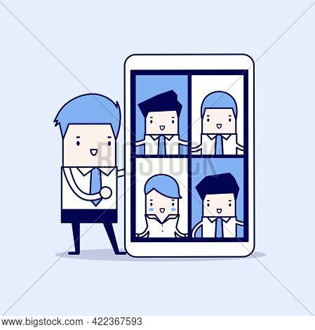 Businessman With Video Conference On Tablet. Online Virtual Meetings. Cartoon Character Thin Line St