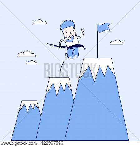 Businessman Climbing Up Mountains Or Cliffs And Moving To Final Destination Point. Cartoon Character