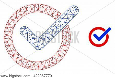 Mesh Vector Vote Tick Image With Flat Icon Isolated On A White Background. Wire Carcass 2d Polygonal