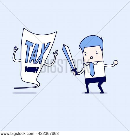 Businessman Fight With A Tax Demon With A Sword. Cartoon Character Thin Line Style Vector.