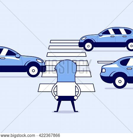 Businessman Waiting To Cross The Road At The Crosswalk. Cartoon Character Thin Line Style Vector.