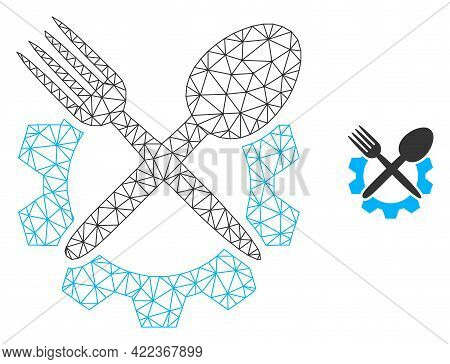 Mesh Vector Food Industry Image With Flat Icon Isolated On A White Background. Wire Carcass Flat Tri