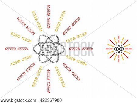 Mesh Vector Atomic Radiation Image With Flat Icon Isolated On A White Background. Wire Carcass Flat
