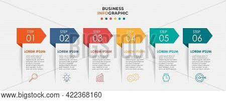 Vector Infographic Design Business Template With Icons And 6 Options Or Steps. Can Be Used For Proce