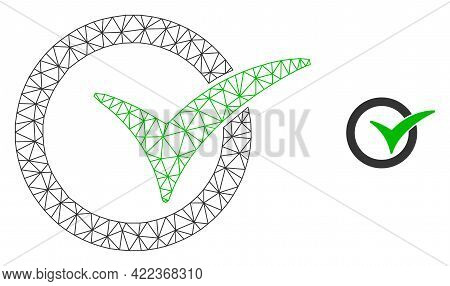 Mesh Vector Yes Vote Image With Flat Icon Isolated On A White Background. Wire Carcass Flat Triangul