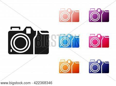 Black Photo Camera Icon Isolated On White Background. Foto Camera Icon. Set Icons Colorful. Vector