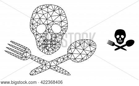 Mesh Vector Toxic Food Image With Flat Icon Isolated On A White Background. Wire Carcass Flat Polygo