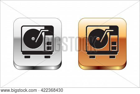 Black Vinyl Player With A Vinyl Disk Icon Isolated On White Background. Silver-gold Square Button. V