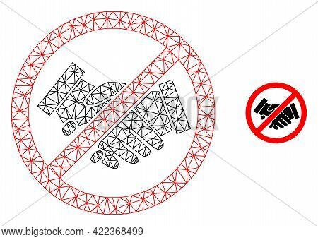 Mesh Vector Stop Handshakes Image With Flat Icon Isolated On A White Background. Wire Frame Flat Pol