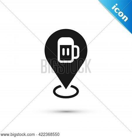 Grey Alcohol Or Beer Bar Location Icon Isolated On White Background. Symbol Of Drinking, Pub, Club,