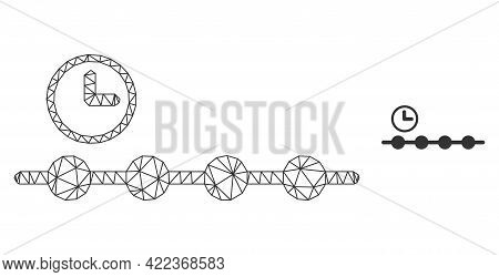 Mesh Vector Timeline Image With Flat Icon Isolated On A White Background. Wire Carcass Flat Triangul