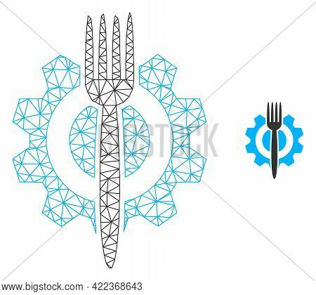 Mesh Vector Food Hitech Image With Flat Icon Isolated On A White Background. Wire Carcass Flat Trian