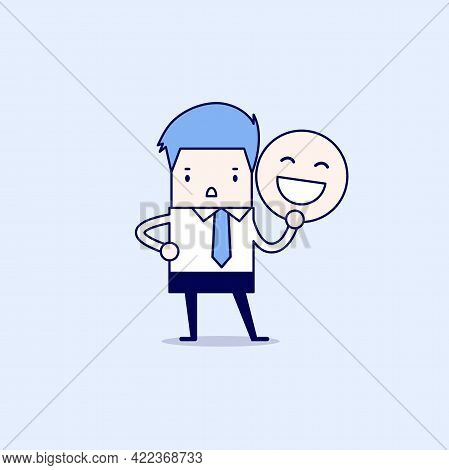 Businessman Holding A Smile Mask. Cartoon Character Thin Line Style Vector.