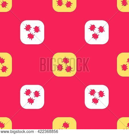 Yellow Bacteria Icon Isolated Seamless Pattern On Red Background. Bacteria And Germs, Microorganism