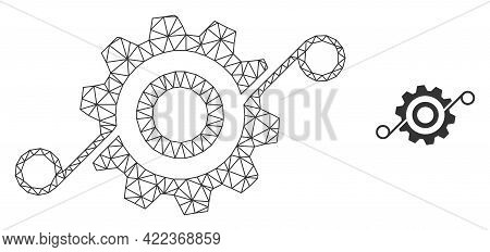 Mesh Vector Cog Solution Image With Flat Icon Isolated On A White Background. Wire Frame Flat Polygo