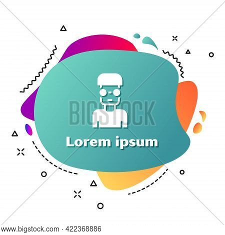 White Nerd Geek Icon Isolated On White Background. Abstract Banner With Liquid Shapes. Vector