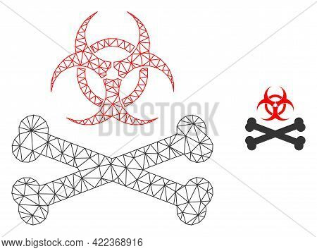 Mesh Vector Biohazard Bones Image With Flat Icon Isolated On A White Background. Wire Carcass Flat P