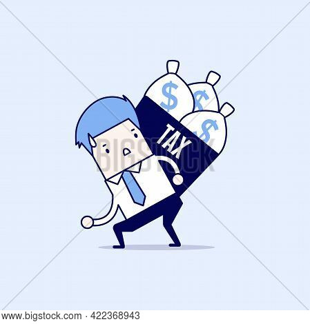 Businessman Shoulder Tax Box With Money Bag. Cartoon Character Thin Line Style Vector.