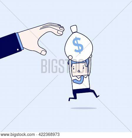 Businessman Runs Away Boss Hands To Steal Money Bags. Cartoon Character Thin Line Style Vector.