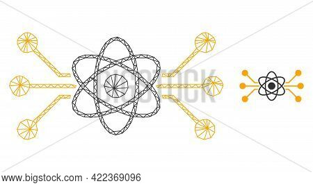 Mesh Vector Atomic Circuit Image With Flat Icon Isolated On A White Background. Wire Carcass Flat Tr