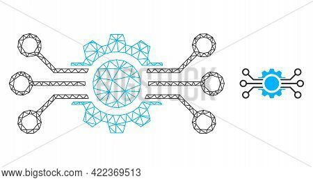 Mesh Vector Gear Circuit Image With Flat Icon Isolated On A White Background. Wire Frame Flat Triang