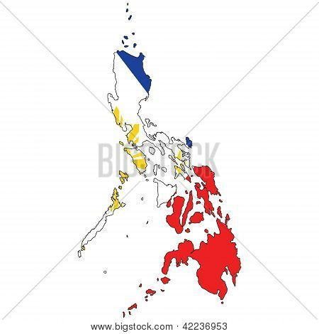 Country outline with the flag of Phillipines