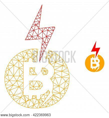 Mesh Vector Bitcoin Crash Image With Flat Icon Isolated On A White Background. Wire Carcass Flat Tri