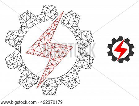Mesh Vector Energy Industry Image With Flat Icon Isolated On A White Background. Wire Carcass Flat T