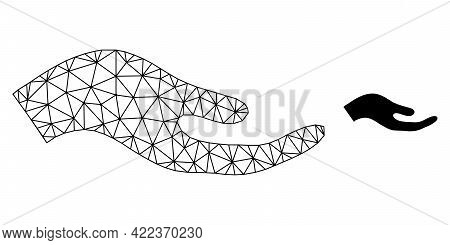 Mesh Vector Petition Hand Image With Flat Icon Isolated On A White Background. Wire Frame Flat Polyg