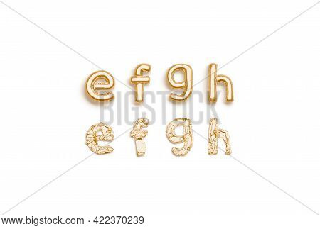 Inflated, Deflated Gold E F G H Letters, Balloon Font, 3d Rendering. Mylar Golden Lettering For Deco