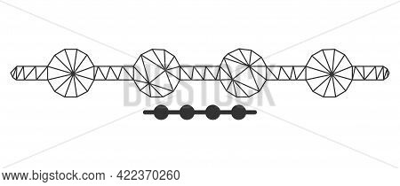 Mesh Vector Connected Dots Line Image With Flat Icon Isolated On A White Background. Wire Carcass Fl