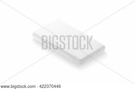 Blank White Rectangle Crib Sheet Mockup, Side View, 3d Rendering. Empty Bed Mattress For Baby Cot Mo