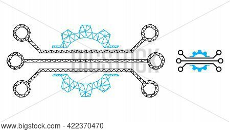 Mesh Vector Digital Industry Image With Flat Icon Isolated On A White Background. Wire Carcass Flat