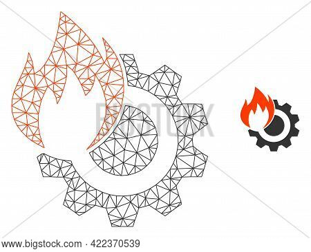 Mesh Vector Hot Gear Image With Flat Icon Isolated On A White Background. Wire Frame Flat Polygonal